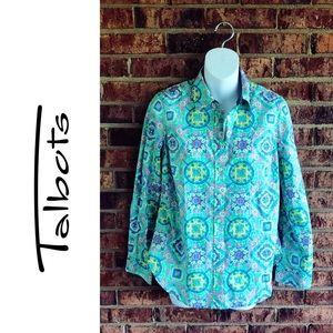 { TALBOTS } NWT Teal Green Pink Cotton Button Down